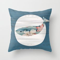 Whales and Polka Dots Throw Pillow