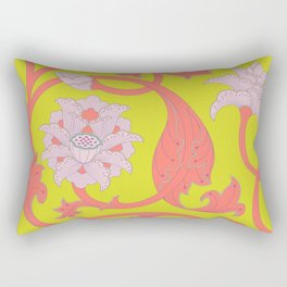 Oriental Lotus Pattern In Acid Lime and Coral Pink Rectangular Pillow