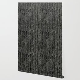 Herringbone Cream on Black Wallpaper
