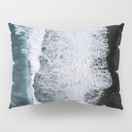 Aerial of a Black Sand Beach with Waves - Oceanscape Pillow Sham