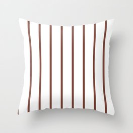 Vertical Lines (Maroon & White Pattern) Throw Pillow