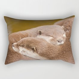 Cuddling Up Together - Otterly Cute Rectangular Pillow