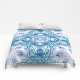 Light blue flowers mandala Comforters