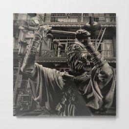 Clothed Man Patrols Back Alley Metal Print