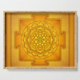 Golden Sri Yantra II Serving Tray