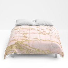 Blush pink abstract gold glitter marble Comforters