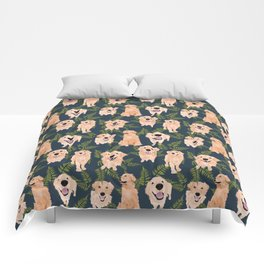 Golden Retrievers and Ferns on Navy Comforters