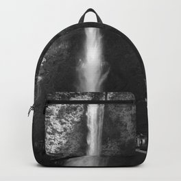 Multnomah Falls Oregon Waterfall Black and White Backpack