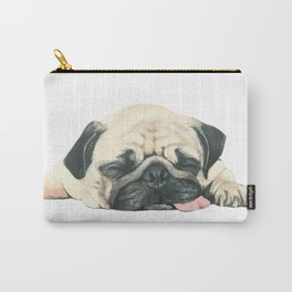 Nap Pug, Dog illustration original painting print Carry-All Pouch