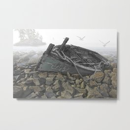 Boat Beached on a Rocky Shore in the Mist Metal Print