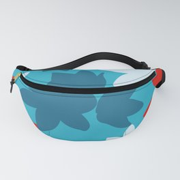 Bold Blue and Red Floral Pattern Fanny Pack