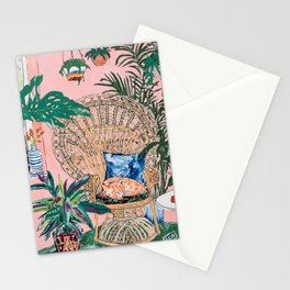 Ginger Cat in Peacock Chair with Indoor Jungle of House Plants Interior Painting Stationery Cards