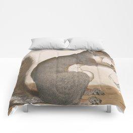 Vintage Illustration of a Grey Squirrel Comforters