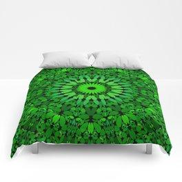 Deep Green Leaves Mandala Comforters