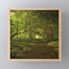 Fantasy Forest Painting Green Wood Framed Mini Art Print