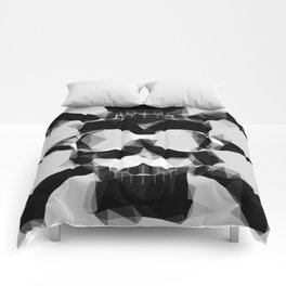 psychedelic skull art geometric triangle pattern abstract in black and white Comforters