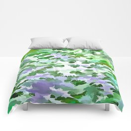 Foliage Abstract In Green and Mauve Comforters