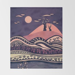 Psychedelic mountains (colour option) Throw Blanket