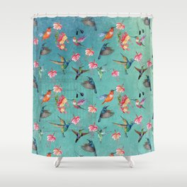 Vintage Watercolor hummingbirds and fuchsia flowers Shower Curtain