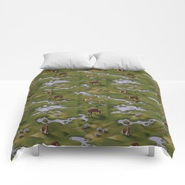 Vicuñas and Flamingoes Comforters