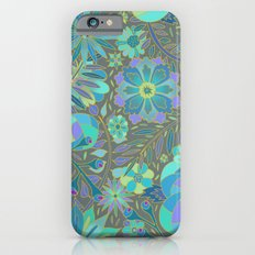 Muted Blue Flowers Slim Case iPhone 6s