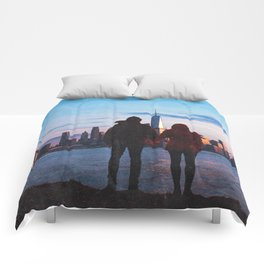 Couple Looking At New York City Skyline Comforters