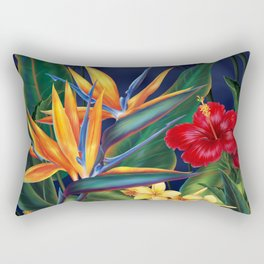 Tropical Paradise Hawaiian Floral Illustration Rectangular Pillow