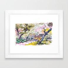 Japanese garden sketch Framed Art Print