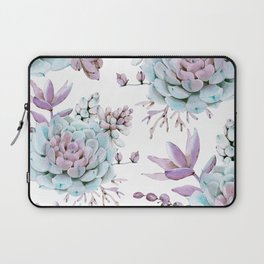 Turquoise and Violet Succulents Laptop Sleeve