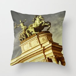 Statue of War on the Heroes Square in Budapest Throw Pillow
