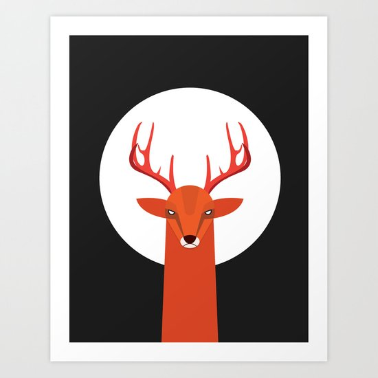 Deer and Moon Art Print