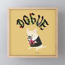Dogue_French Bulldog_Yellow Framed Mini Art Print