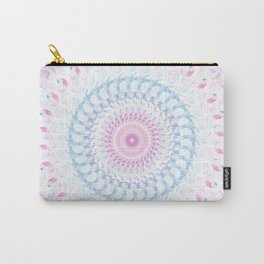 Pastel Wave Mandala in Pale Pink, White, and Lilac Carry-All Pouch