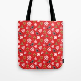 Christmas / Winter Robin Holly Gingerbread Man Snowflakes Pattern Red Tote Bag