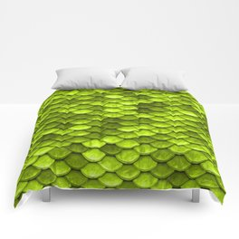 Lime Green Mermaid Tail Scales Comforters