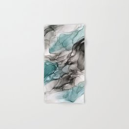 Smoky Grays and Green Abstract Flow Hand & Bath Towel