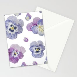 Watercolor Pansy Pattern Stationery Cards