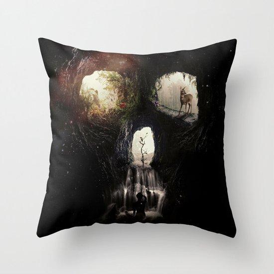 Cave Skull Throw Pillow