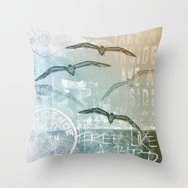 Free Like A Bird Seagull Mixed Media Art Throw Pillow