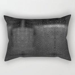 Black and White Rain Drops; Abstract Rectangular Pillow