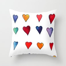 Multiple HEARTS Throw Pillow