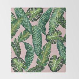 Jungle Leaves, Banana, Monstera II Pink #society6 Throw Blanket