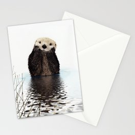 Adorable Smiling Otter in Lake Stationery Cards