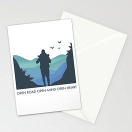 Open Road Open Mind Open Heart - Backpacker quote Stationery Cards