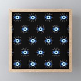 Evil Eye on Black Framed Mini Art Print
