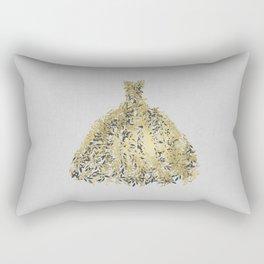 Grey & Gold Leaf Botanical Dress Rectangular Pillow