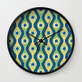 Ikat Stringed Beads Pattern - Blue Green Yellow Wall Clock