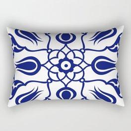 Blue Turkish Traditional Floral Tile Art Rectangular Pillow