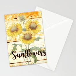 Country Sunflowers on wood Stationery Cards