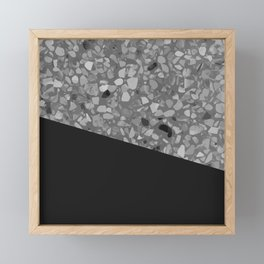 Terrazzo Texture Grey Black #7 Framed Mini Art Print